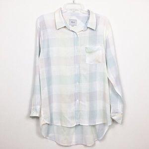 Rails Charlie Pastel Plaid Button Down Shirt Top